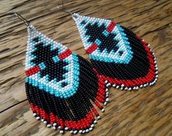 Eagle Call..Large Beaded Fringe Earrings Native American Inspired