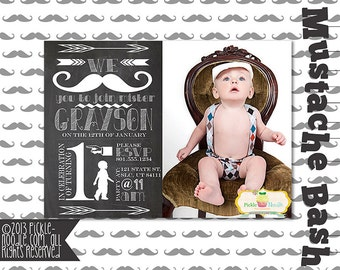 First Birthday Invitation - Turning One Year - Mustache Bash - Baby Boy 1st Birthday - Plus FREE web version - 5x7 - 4x6