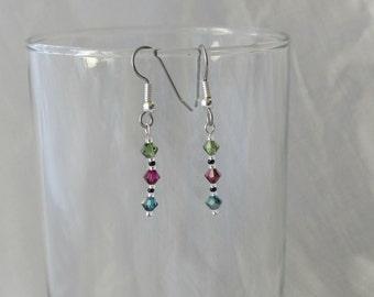 Dangle Earrings with Swarovski Crystal Beads  #055J