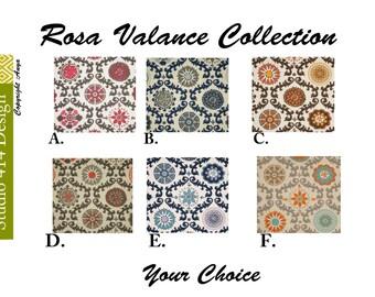 VALANCE.Floral Valance. Rosa Window Treatment.Rosa Window Valance.Rosa  Valance.Floral  window Treatment
