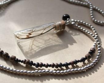 Redeye Cicada Wing - Bottled Long Jane Silver Necklace