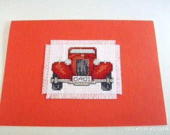 Dad 1 Car Cross-stitch Greeting Card - Father's Day Greeting Card