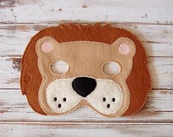 Lion Mask - Felt - Kids Mask - Costume - Dress Up - Halloween - Jungle Animal