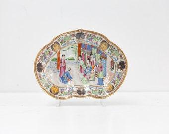 Chinese Porcelain Rose Manderin Shaped Dish