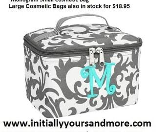 Monogrammed Small Cosmetic Bag comes in Aqua Chevron, Taupe Chevron, Black Chevron, Swirl, and Maddie print