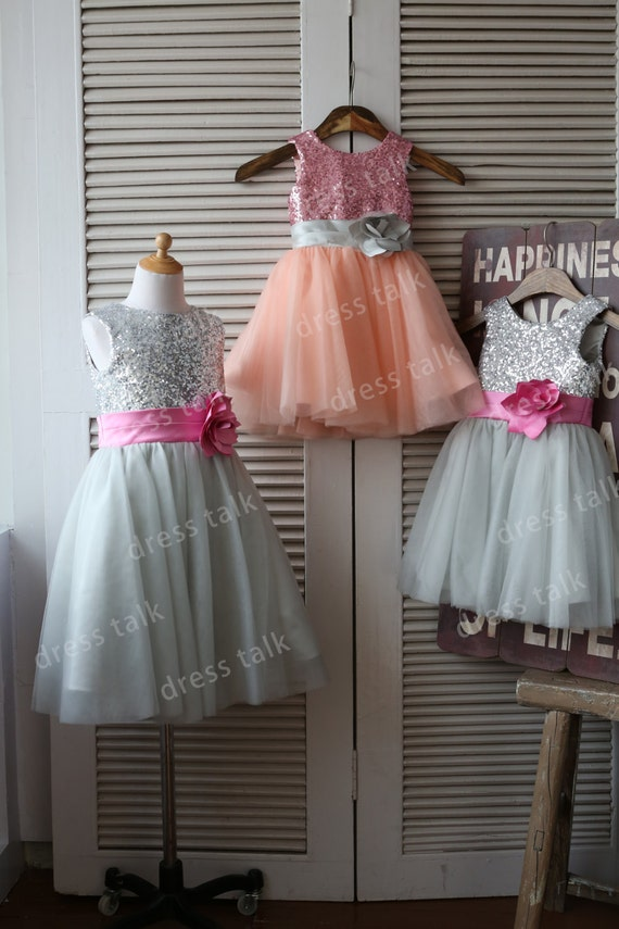 Silver/Pink Sequin Grey Tulle Flower Girl Dress Toddler/ Baby Girl Dress for Wedding with Flower Sash Birthday Dress