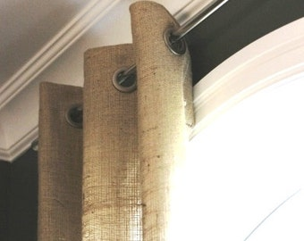 Burlap Curtain 52'' -  Panel with grommets - choose your length