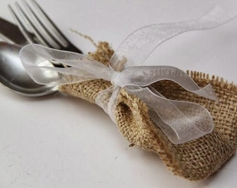 Burlap Silverware Holders with voile ribbon - Burlap cutlery holders - Burlap cutlery pockets -Rustic table decor
