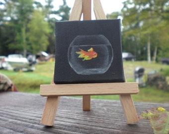 Mini acrylic Goldfish painting