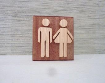 Panneau de porte de wc humoristique noir en bois ecriteau for Decoration murale wc