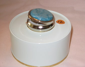 Mini Pill Box with 3 sections (Light Blue Acrylic Inlay)pewter finish