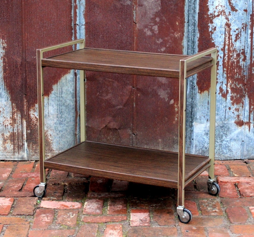 Mid Century Gold Metal Wood Rolling Bar Cart Tea Table Modern