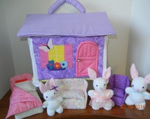Carry-Along Fabric Dollhouse, Bear or Bunny Family, Furniture -Lovingly handmade house, furniture and stuffed animals!
