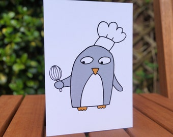 Baker Birthday Card - Chef - Cook -Funny penguin