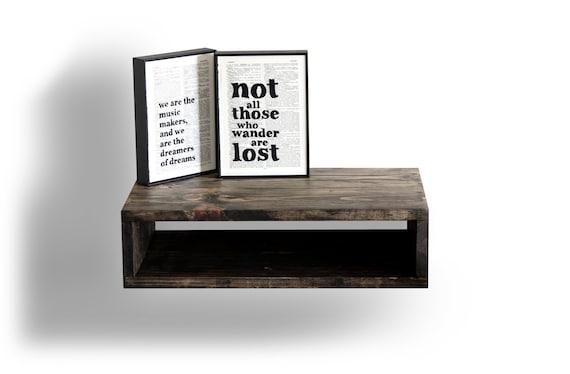 wooden floating nightstand