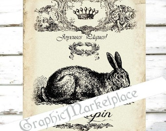 Joyeuses Paques Easter Rabbit Hare Lapin Large Image Instant Download Vintage Transfer Fabric digital collage sheet printable No. 986