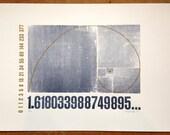 Golden Rectangle Fibonacci Letterpress Print