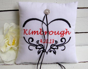 Embroidered Damask Heart Ring Bearer Pillow - Choose Your Own Color Combinations