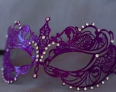 Purple maquerade metal mask, laser cut lace masquerade mask perfect for masked ball, new years masquerade parties, masquerade prom