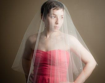 Scattered Swarovski Crystal Sheer Drop Illusion Wedding Veil  (Blusher Veil, Bridal Veil, Cathedral, Elbow, Finger Tip, Chapel Length)