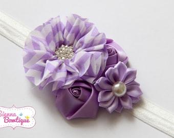Lilac Lavender Chevron Girls Headband, Baby Headband, Purple Headband