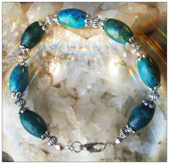 Handmade Silver Bracelet with Chrysocolla Rice by IreneDesign2011