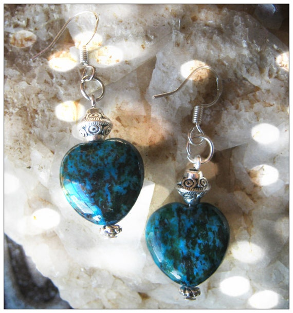 Handmade Silver Earrings with Chrysocolla Hearts by IreneDesign2011