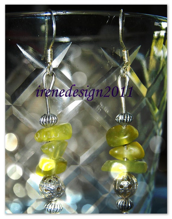 Handmade Beautiful Silver Hook Earrings with Peridot by IreneDesign2011