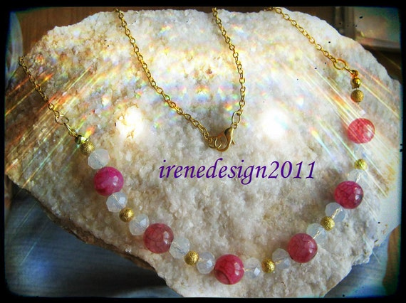 Handmade Gold Necklace with Pink Dream Dragon Fire Vein Agate & Facetted White Opal by IreneDesign2011
