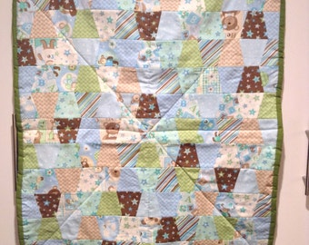 Baby Boy Tumbler Patch Quilt