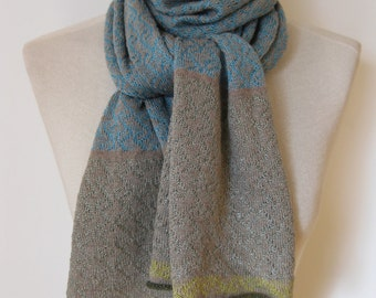 Handmade cashmere scarf/ knitted cashmere scarf/ cashmere scarf/ patterned scarf/ womans/ turquoise scarf with jade+lime edges