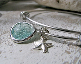 Silver Starfish Bangle Erinite Bangle Aquamarine Bangle Starfish Bangle Aquamarine Jewelry Bridesmaid Bangles Beach Wedding March Birthstone