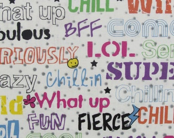Wild Words Fabric From Fabri-Quilt 100% Cotton