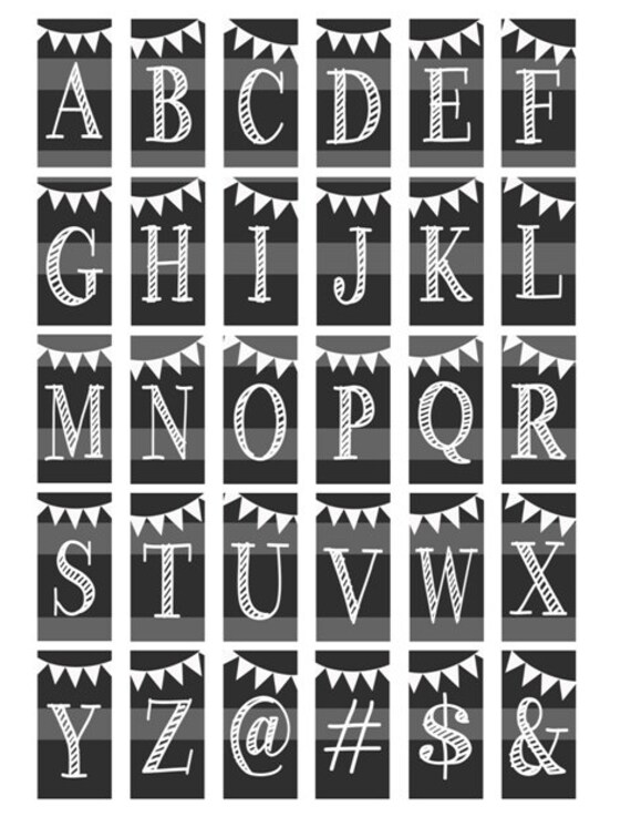 chalk alphabet letters initials monogram chalkboard digital