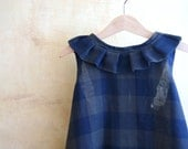 Blue toddler girl dress, double gauze cotton checkered blue and brown