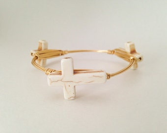 White Cross Gold Wire Wrapped Bangle