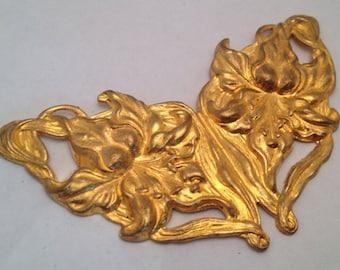 Vintage Art Nouveau Deco Russian Gold Plate Floral Stamping Finding Centerpiece