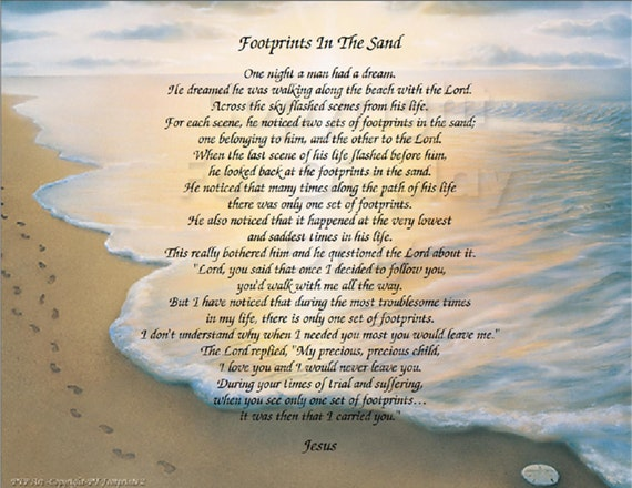 The Footprints in the Sand poem - Christian Poem - Inspirational Print - Ready to Frame Wall Plaque Gift idea Ocean Beach Scene
