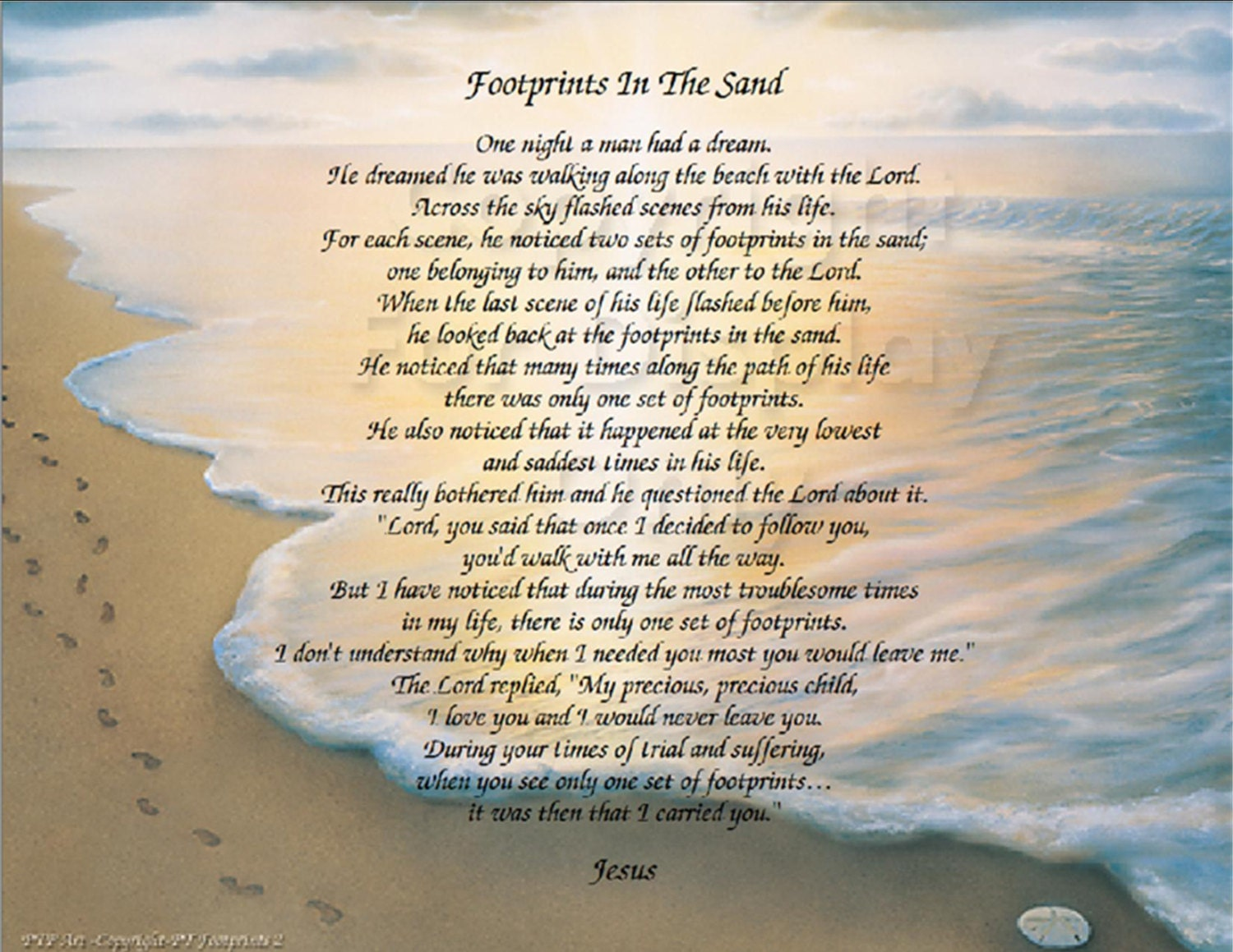 The Footprints in the Sand poem Christian Poem