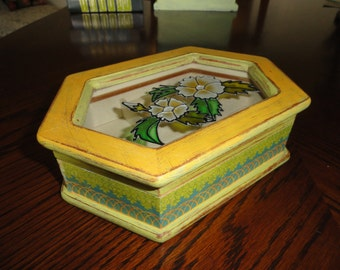 Shabby chic yellow green blue upcycled jewelry box great for Girls large jewelry box
