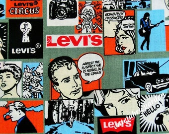 Cotton Fabric - 1 Meter Animal Cartoon - Cartoon Character - Character Fabric - The Young Levi's - Levi's Fabric - Gray  (W140cm)