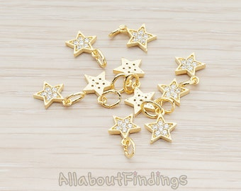 PDT955-G // Glossy Gold Plated Cubic Zirconia Setting Star Pendant, 2 Pc