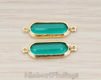 FST027-G-EM // Glossy Gold Plated Long Oval Framed Emerald Glass Stone Connector, 2 Pc