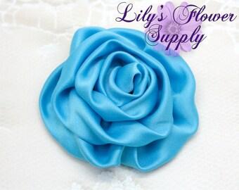 Satin Rolled Rosette - Set of 3 - Satin Flower - Satin Rose - Ruched Flowers - Blue - Rosette - Satin rosettes - Rolled Rosettes - Wholesale