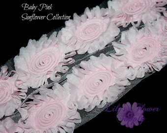 1/2 or 1 yard Baby Pink Sunflower Shabby Rose Trim - Shabby Flower trim - Shabby Flower Chiffon Flower - Shabby Chic - Rose Trim - Wholesale