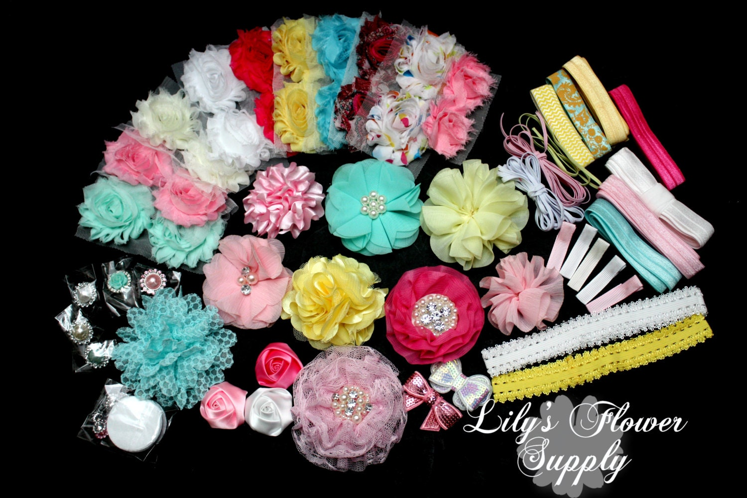baby shower headband kit deluxe diy hair bow by lilysflowersupply