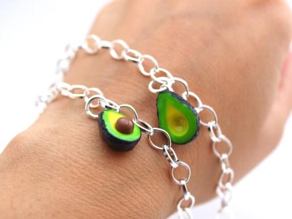 Best Friends Bracelets, BFF Friendship Bracelet, Miniature Food Jewelry, Fimo Polymer Clay, Mini Food Avocado Bracelet, Stocking Stuffers