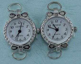 Silver Plated Crystal Round Watch Faces Set Of 2, Watch Supplies,  Jewelry Supply, Charm Findings, Custom Made Watch, Watch Making Supplies