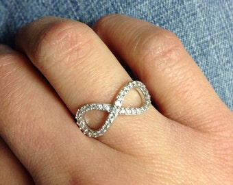 Sterling Silver CZ Infinity Ring, Friendship Ring, Forever and Always, Simple Everyday, Wedding, Bridesmaid Gift, Eternity Ring, SIZE 7 ONLY