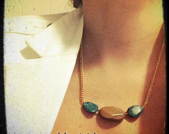 BOLD Statement Turquoise and Brazilian coffee stone necklace.